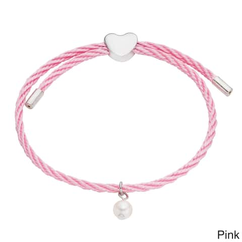Pearlyta Kid's Silver and Colored Cord Pearl and Heart Charm Bracelet (6 mm) - Red