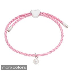 Pearlyta Kid's Silver and Colored Cord Pearl and Heart Charm Bracelet (6 mm) - Pink (3 options available)