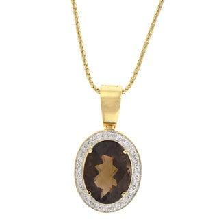Beverly Hills Charm 14k Gold Smokey Quartz and 3/8ct TDW Diamond Necklace (H-I, I1)