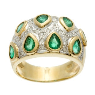 Kabella Luxe 14k Gold Pear Emerald and 1/4ct TDW Size 6.75 Diamond Ring (H-I, SI1-SI2)