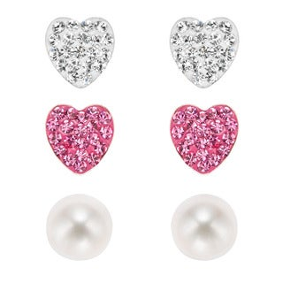 Pearlyta Sterling Silver Kids' CZ Heart and Freshwater Pearl Stud Earring Set (6 mm)
