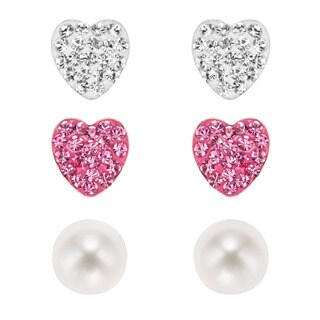 Pearlyta Sterling Silver Kids' CZ Heart and Freshwater Pearl Stud Earring Set (6 mm) - White