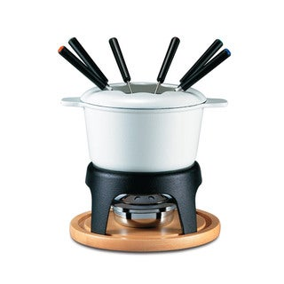 Swissmar Sierra Black/ White Enameled Pot 11-piece Meat Fondue Set