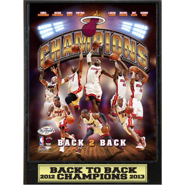 Miami Heat 2013 Back to Back Champions Plaque