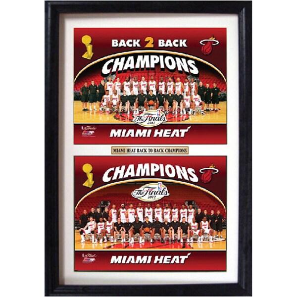 Miami Heat Champions Back 2 Back Double Photo Framed Print