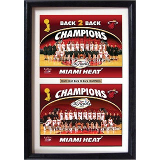 Miami Heat Champions Back 2 Back Double Photo Framed Print