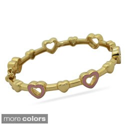 Junior Jewels 18k Gold Overlay Children's Open Heart Bangle