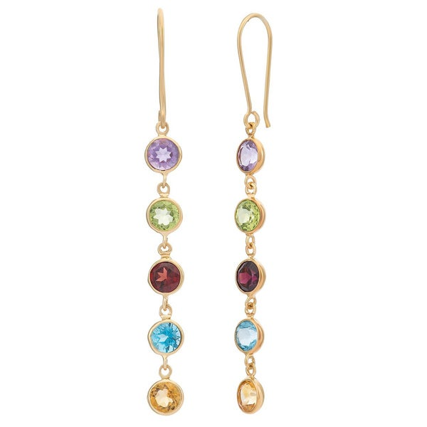 Gioelli Gold over Silver Round Gemstone Dangle Earrings