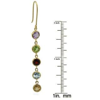 Gioelli Gold over Silver Round Gemstone Dangle Earrings
