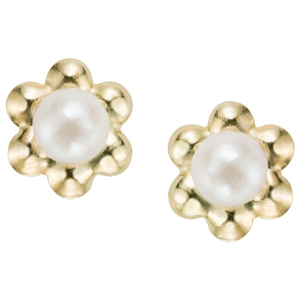 Pearlyta 14k Yellow Gold Children X27 S Freshwater Pearl Flower Earrings With Gift Box