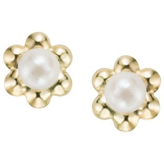 Pearlyta 14k Yellow Gold Children's Freshwater Pearl Flower Earrings with Gift Box (5-6 mm) - White