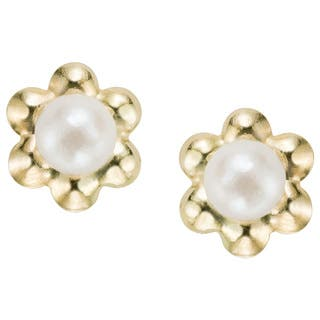 Pearlyta 14k Yellow Gold Children S Freshwater Pearl Flower Earrings With Gift Box 5 6