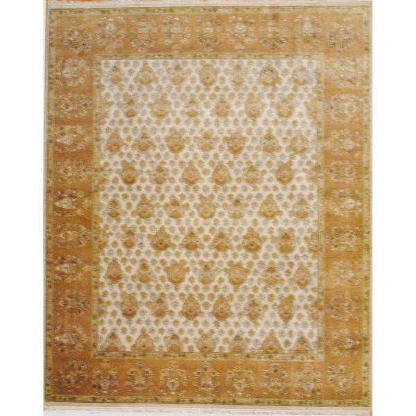 Handmade Herat Oriental Indo Oushak Wool Rug - 8' x 10' (India)