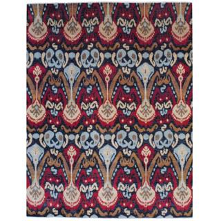 Herat Oriental Indo Hand-knotted Vegetable Dye Ikat Design Black/ Red Wool Rug (8' x 10')