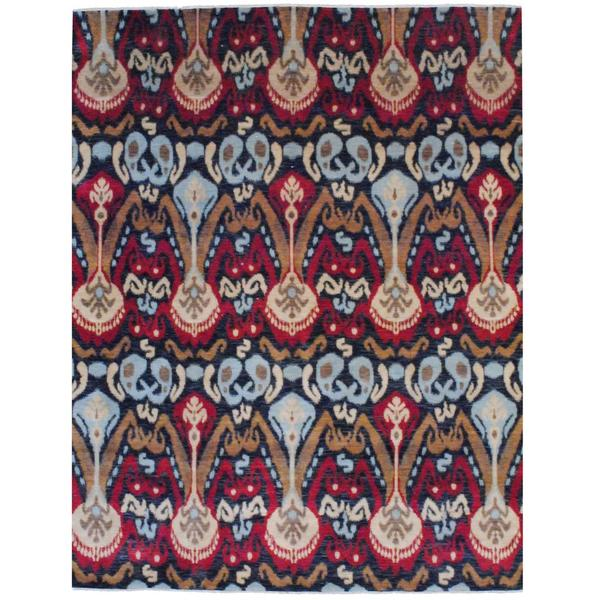 Herat Oriental Indo Hand-knotted Vegetable Dye Ikat Wool Rug - 8' x 10'