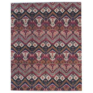 Herat Oriental Indo Hand-knotted Vegetable Dye Ikat Design Rust/ Ivory Wool Rug (8' x 10')