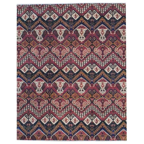 Handmade Herat Oriental Indo Vegetable Dye Ikat Design Wool Rug - 8' x 10' (India)