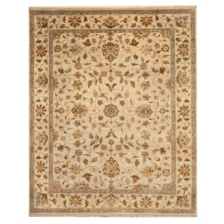 Herat Oriental Indo Hand-knotted Mahal Gold/ Beige Wool Rug (8' x 10') (India)