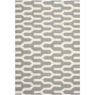 Safavieh Hand-woven Moroccan Reversible Dhurrie Silver Wool Rug (4' x 6')