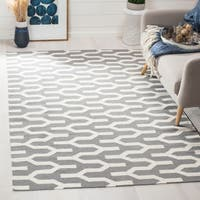 Safavieh Hand-woven Moroccan Reversible Dhurrie Silver Wool Rug - 5' x 8'
