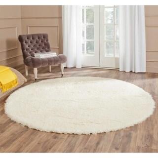 Safavieh Handmade Flokati Ivory Wool Rug (4' x 4' Round)