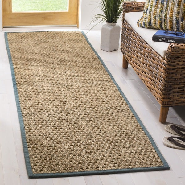 Safavieh Casual Natural Fiber Natural and Light Blue Border Seagrass Runner (2'6 x 12')