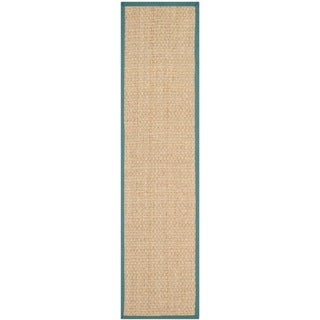 Safavieh Casual Natural Fiber Natural and Light Blue Border Seagrass Runner (2'6 x 14')