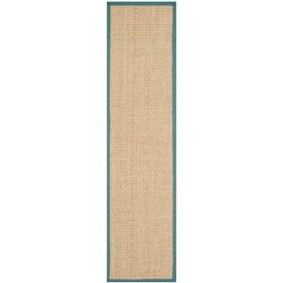 Safavieh Casual Natural Fiber Natural and Light Blue Border Seagrass Runner (2'6 x 16')