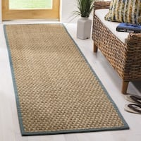 Safavieh Casual Natural Fiber Natural and Light Blue Border Seagrass Runner Rug - 2'6 x 16'
