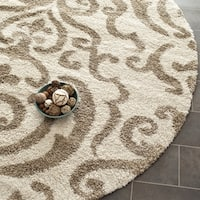 Safavieh Florida Shag Ornate Cream/ Beige Damask Round Rug (4' Round)