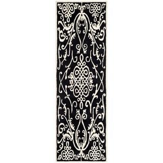 Safavieh Hand-made Soho Black/ Ivory Wool Rug (2'6 x 12')