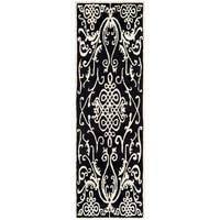 Safavieh Hand-made Soho Black/ Ivory Wool Rug (2'6 x 12')