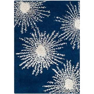 Safavieh Hand-made Soho Burst Dark Blue/ Ivory Wool Rug (2' x 3')