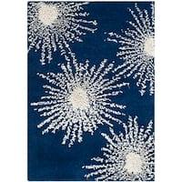 Safavieh Handmade Soho Burst Dark Blue/ Ivory Wool Rug - 2' x 3'