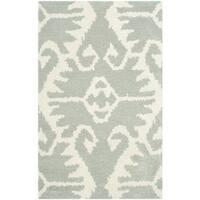 "Safavieh Hand-made Wyndham Grey/ Ivory Wool Rug - 2'6"" x 4'"