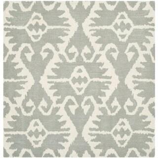 Safavieh Hand-made Wyndham Grey/ Ivory Wool Rug (5' Square)