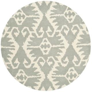 Safavieh Hand-made Wyndham Grey/ Ivory Wool Rug (7' Round)