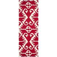Safavieh Hand-made Wyndham Red/ Ivory Wool Rug - 2'3 x 7'
