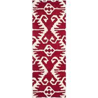 Safavieh Hand-made Wyndham Red/ Ivory Wool Rug - 2'3 x 9'