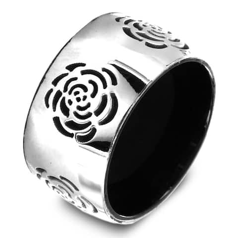 Black Plated Stainless Steel Grooved Rose Center Ring - Multicolor