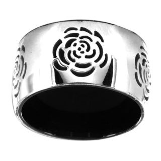 Black-plated Stainless Steel Grooved Rose Center Ring