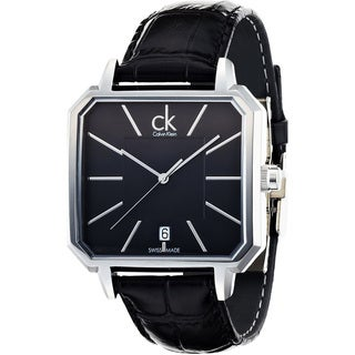 Calvin Klein Men's Black Crocodile Leather Swiss Quartz Watch