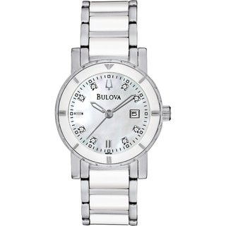 Bulova Women's 'Diamond 98P121' Silvertone Stainless Steel Mother-of-Pearl Dial Quartz Watch