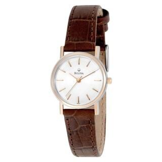 Bulova Women's '98V31' Brown Leather White Dial Quartz Watch