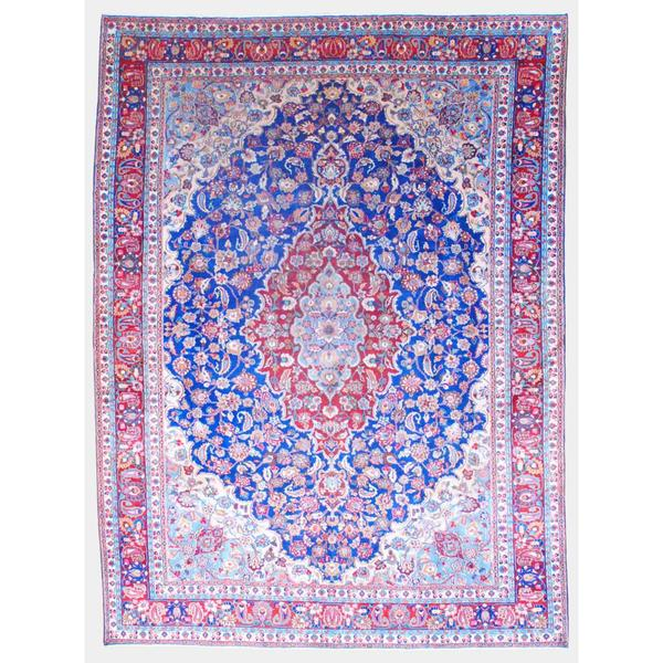 Shop Ecarpetgallery Hand Knotted Persian Kashan Red Wool: Shop Persian Hand-knotted 1960's Kashan Navy/ Red Wool Rug