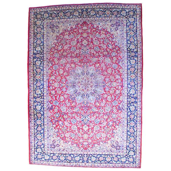 Hand Knotted Persian Isfahan Wool Area Rug: Shop Persian Hand-knotted 1960's Isfahan Red/ Navy Wool