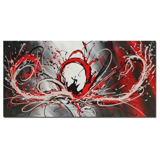 Anthony D 'Red Splash' Contemporary Hand-painted Canvas Art