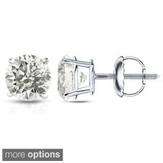 Auriya Platinum 1/2ct to 1 1/2ct TDW Hearts and Arrows Diamond Stud Earrings (J-K, SI1-SI2)