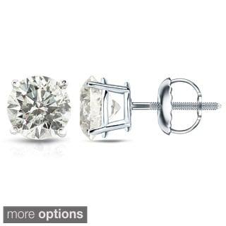 Auriya Platinum 1/2ct to 1 1/2ct TDW Hearts and Arrows Diamond Stud Earrings (J-K, SI1-SI2)