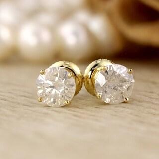 18K Yellow Gold 1/2ct to 2ct TW Clarity Enhanced Diamond Stud Earrings
